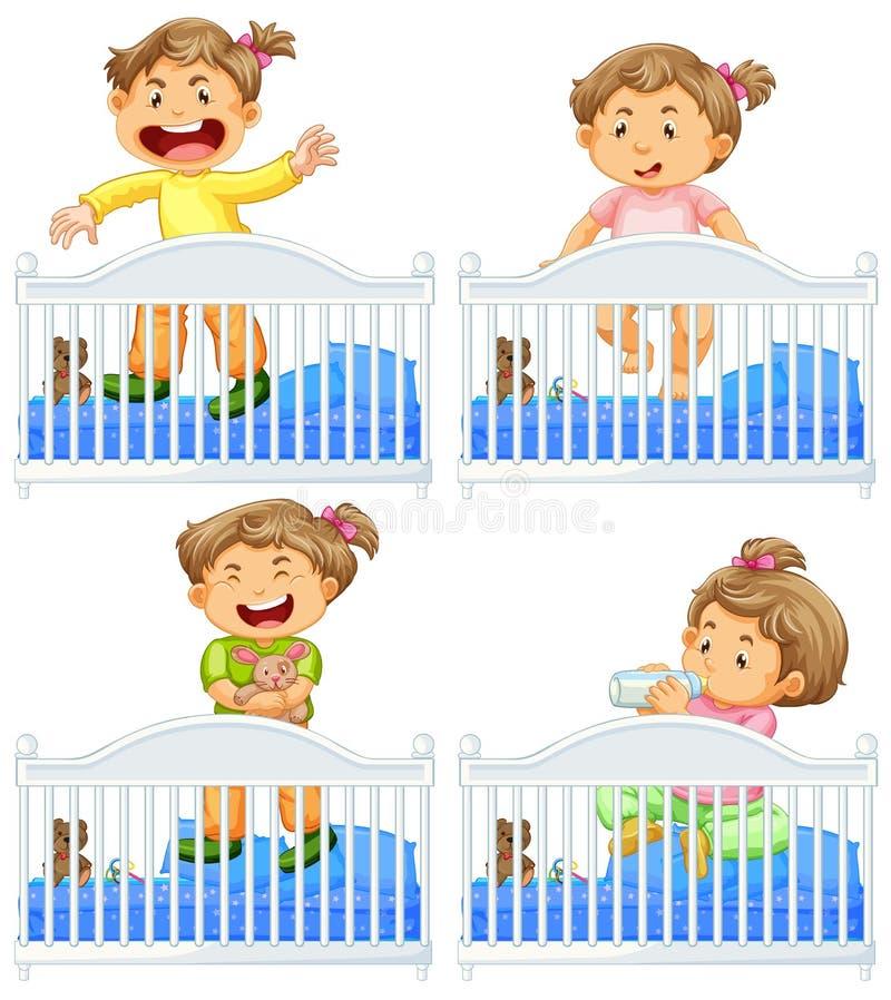 Bébés dans la huche sur le fond blanc illustration stock