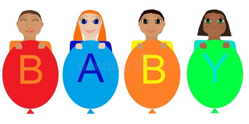 Bébés de différentes nationalités illustration libre de droits