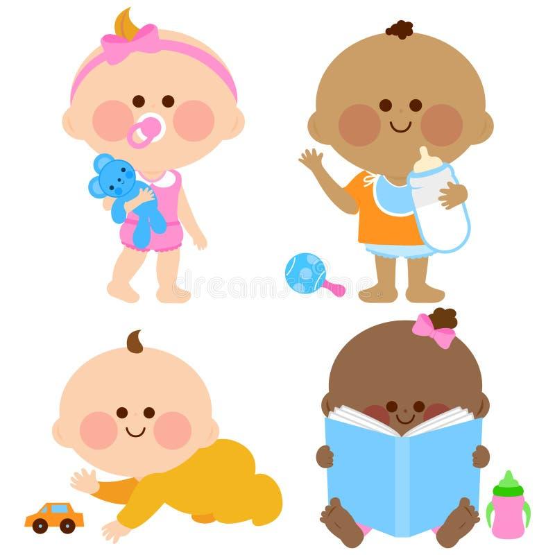Bébés et garçons mignons illustration de vecteur
