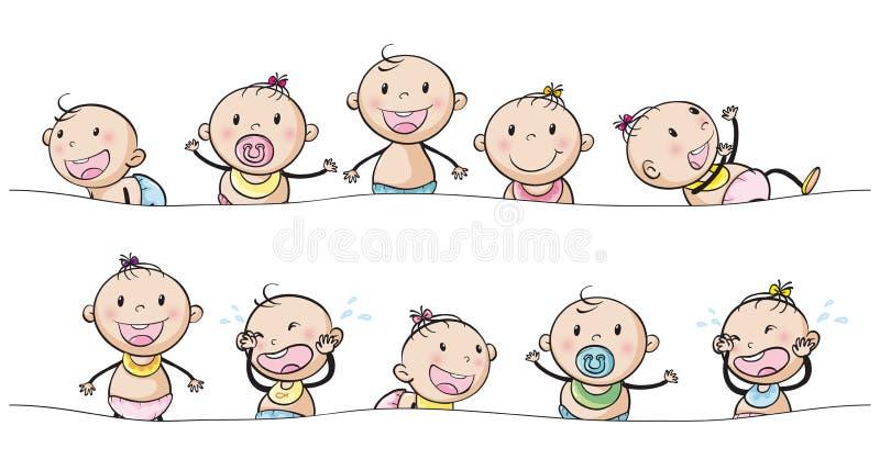 Bébés garçon et filles avec des expressions du visage illustration de vecteur