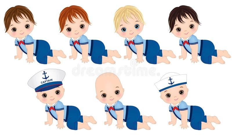 Bébés garçon mignons de vecteur habillés dans le style nautique illustration stock