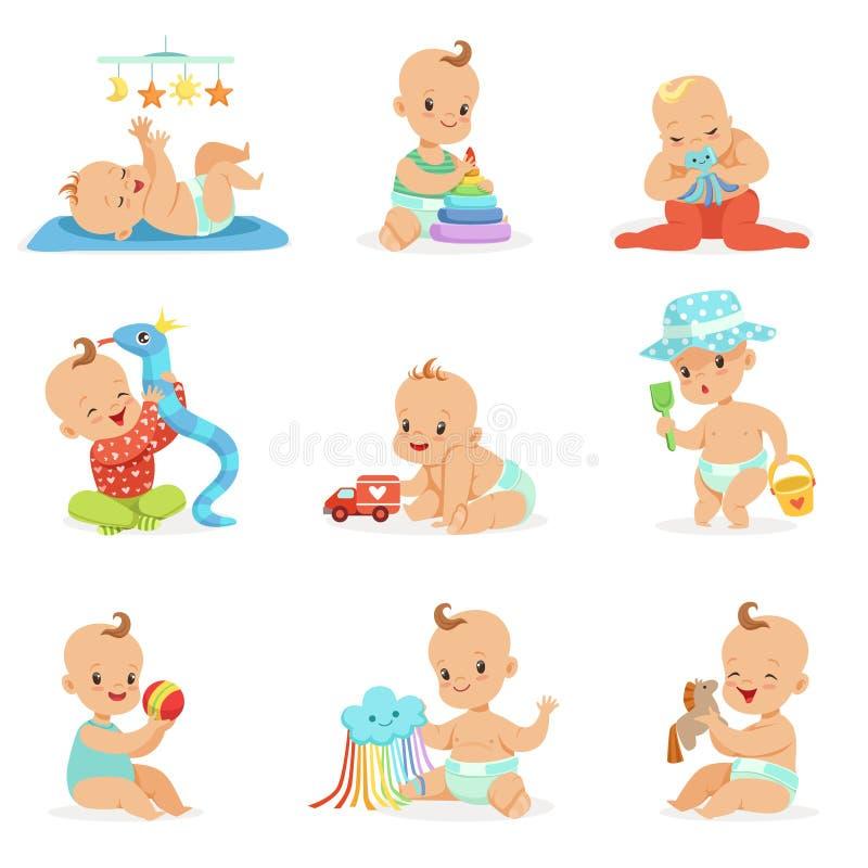 Bébés Girly adorables de bande dessinée jouant avec leur trousse d'outils bourrée de jouets et d'instruments de développement des illustration libre de droits