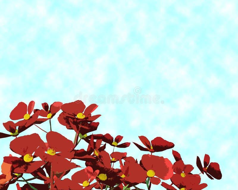 Bégonias rouges et jaunes colorés sur le fond bleu-clair image stock