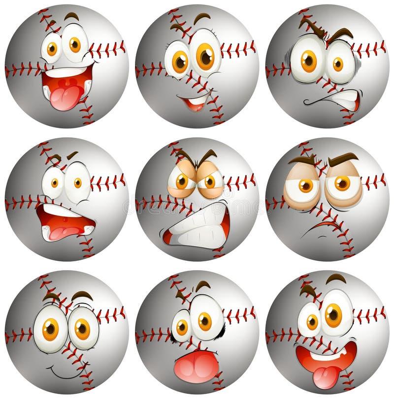 Béisbol con la expresión facial stock de ilustración