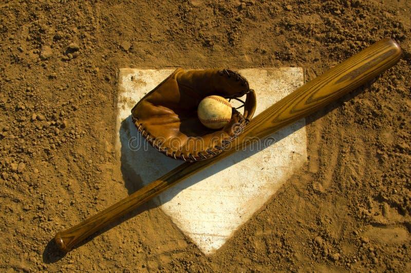 Béisbol de la vendimia en base imagen de archivo libre de regalías