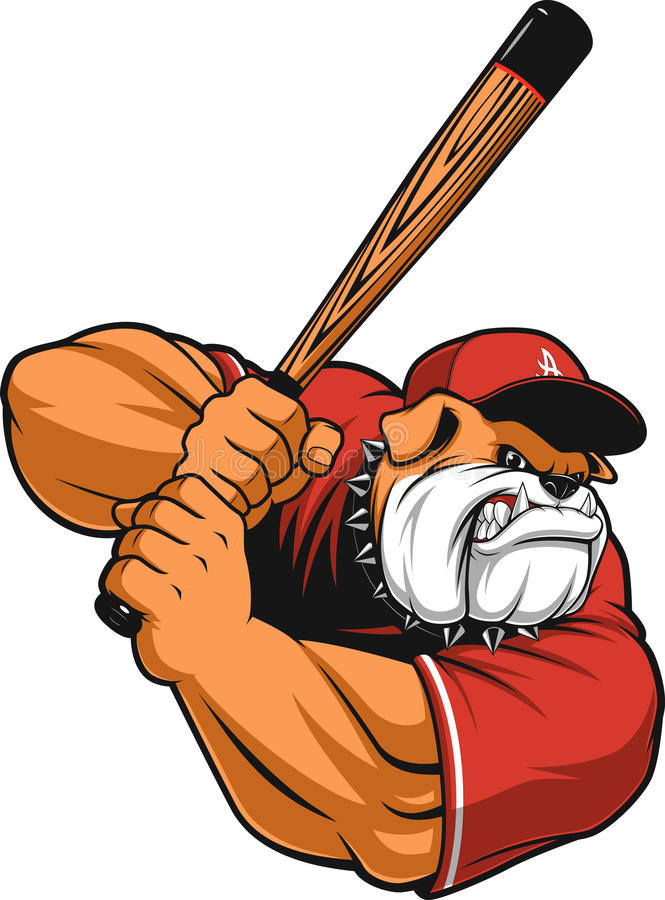 Béisbol feroz del dogo ilustración del vector