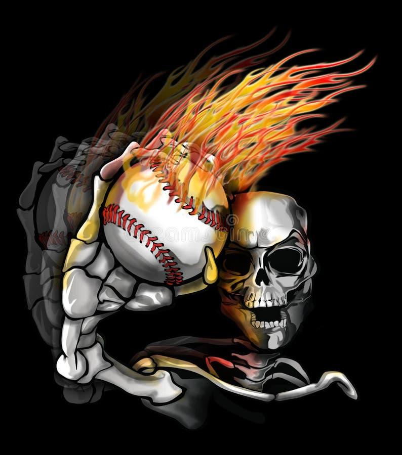 Béisbol llameante que lanza de Skelton ilustración del vector