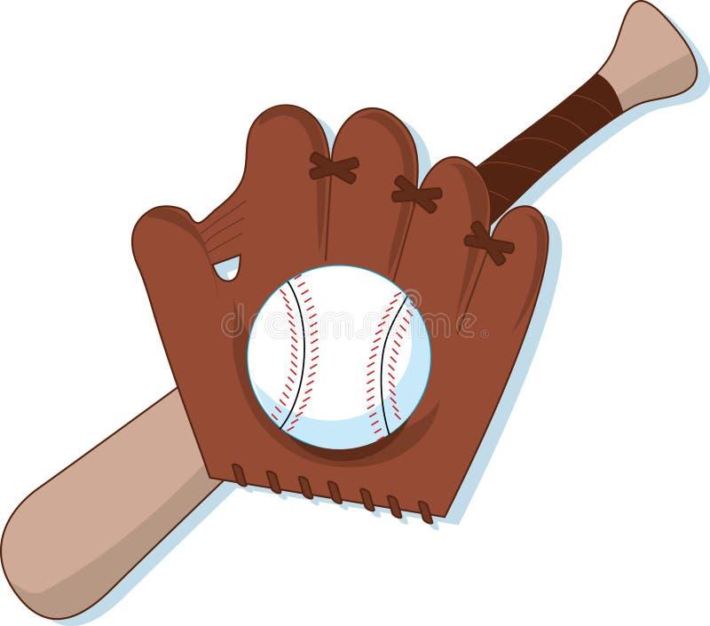 Béisbol, mitón y palo stock de ilustración