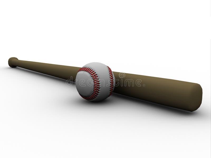 Béisbol y bate de béisbol stock de ilustración
