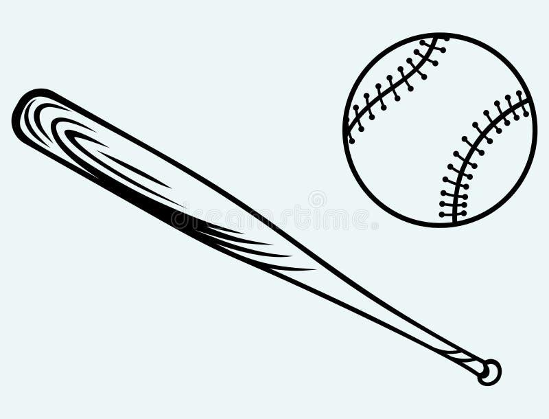 Béisbol y bate de béisbol ilustración del vector