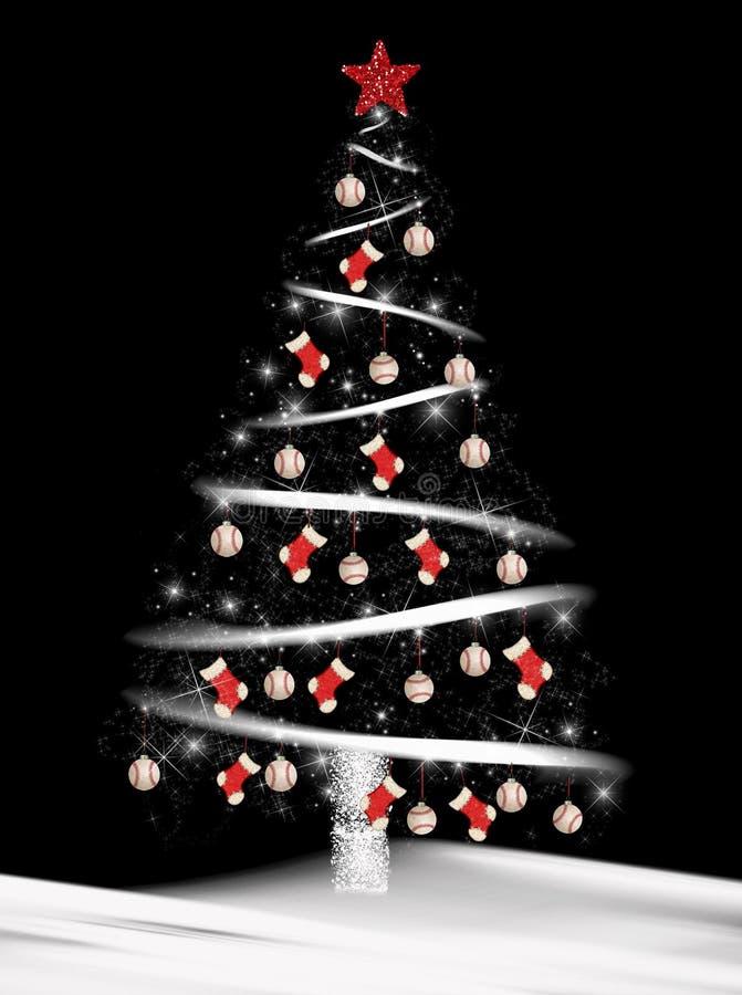 bisbol y calcetines en el rbol de navidad