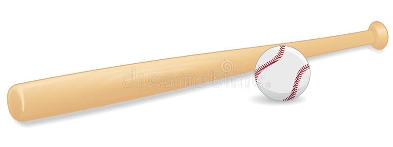 Béisbol y palo stock de ilustración
