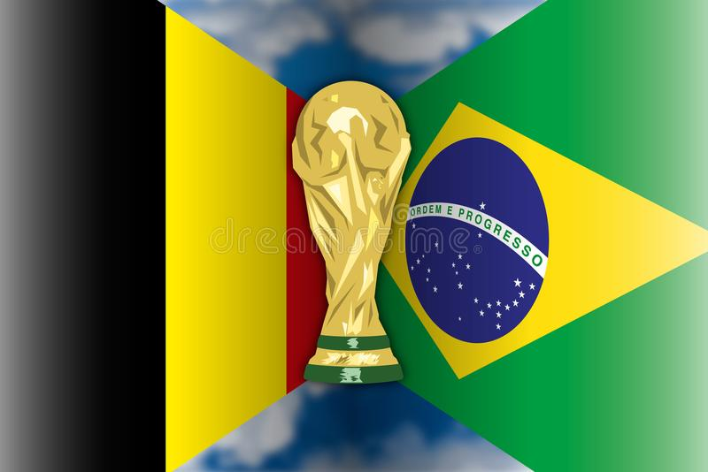 Bélgica CONTRA el Brasil, Rusia 2018, finales cuartos ilustración del vector
