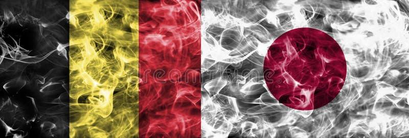 Bélgica contra la bandera del humo de Japón, finales cuartos, mundial 2018, Moscú, Rusia del fútbol fotografía de archivo