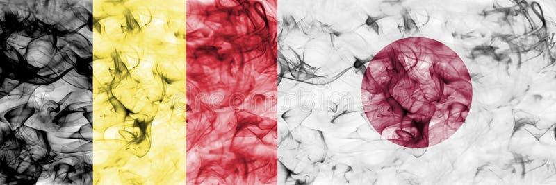 Bélgica contra la bandera del humo de Japón, finales cuartos, mundial 2018, Moscú, Rusia del fútbol stock de ilustración