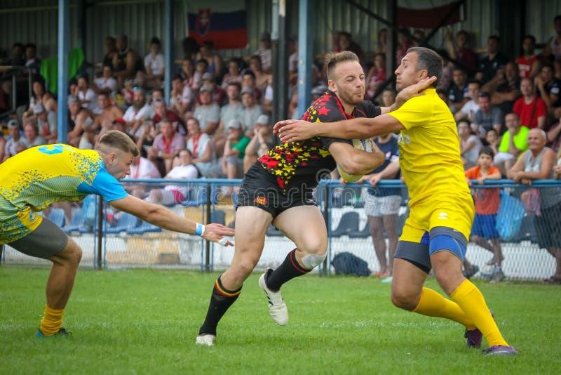 Bélgica contra o rugby 7 de Ucrânia imagens de stock royalty free