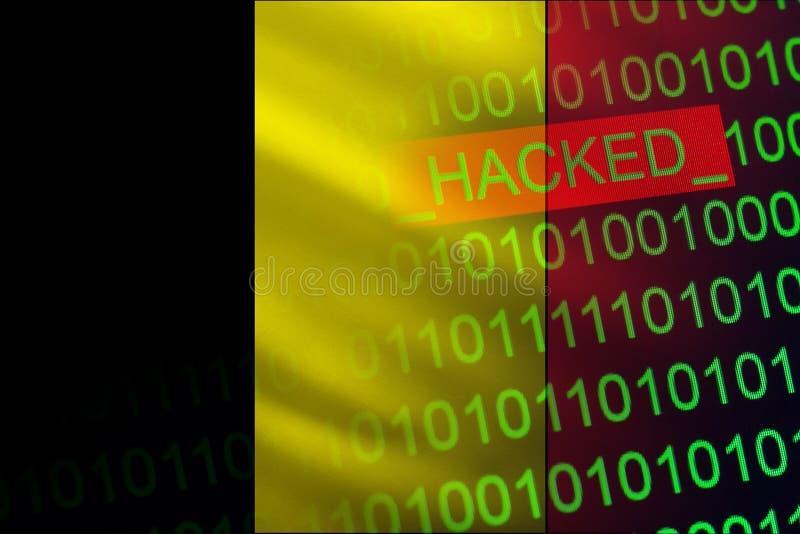 Bélgica cortou a Segurança do Estado Cyberattack na estrutura financeira e da operação bancária Roubo da informação secreta ilustração do vetor