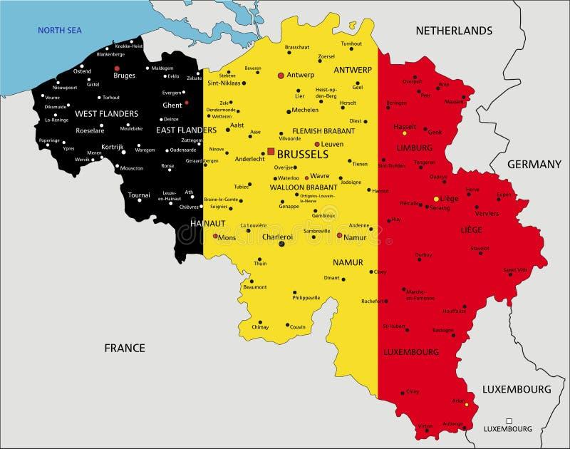 Bélgica detalló altamente el mapa político con la bandera nacional ilustración del vector