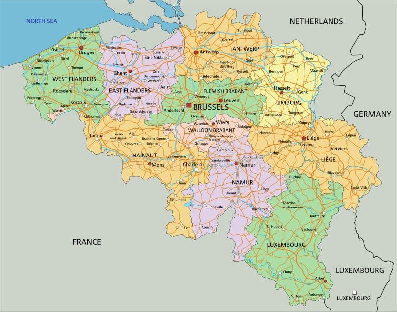 Bélgica - mapa político editable altamente detallado con el etiquetado stock de ilustración