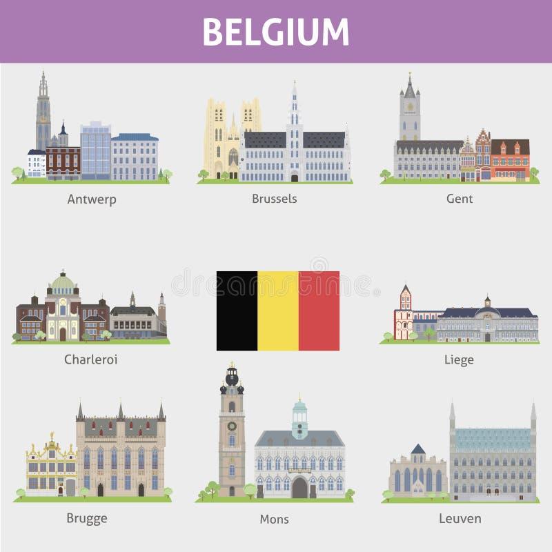 Bélgica. Símbolos das cidades ilustração do vetor