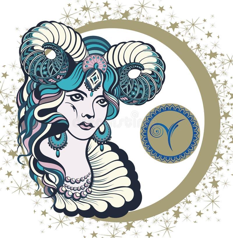 Bélier décoratif de signe de zodiaque illustration de vecteur