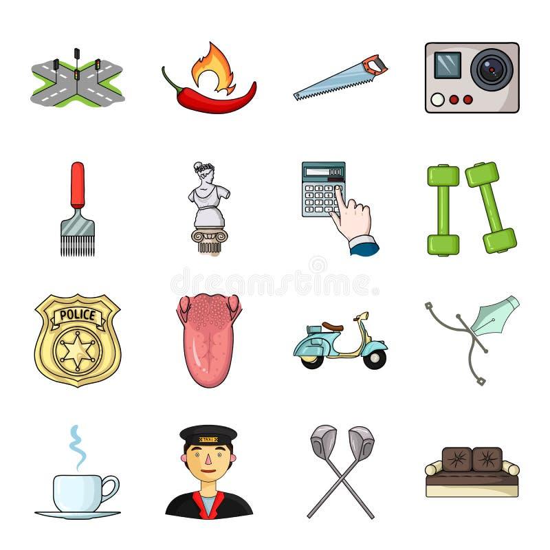 Béret, armée, putter et toute autre icône de Web dans le style de bande dessinée sports, médecine, icônes de divertissement dans  illustration de vecteur