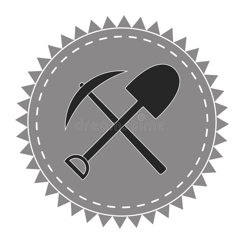Bêcheur d'icône de logo, sélection et pelle, chercheurs trésor, vecteur illustration stock