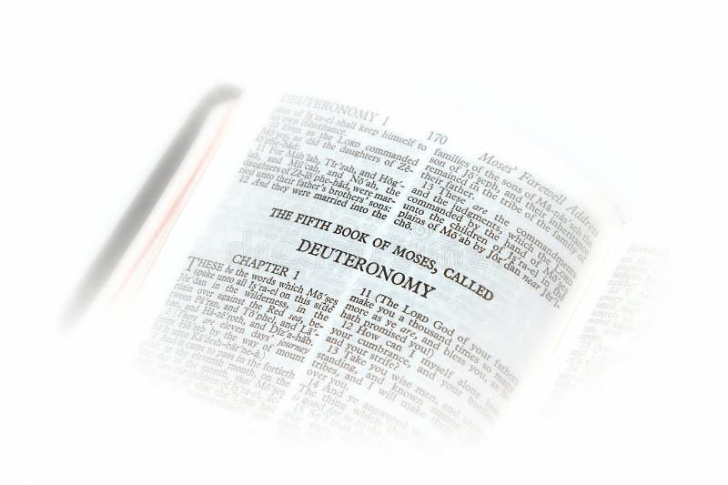 A Bíblia aberta à vinheta deuteronomy imagens de stock royalty free