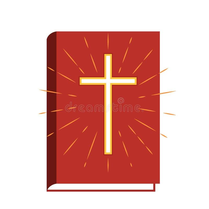 A Bíblia do livro sagrado com os teares do crucifixo e do sol o ícone liso da ilustração do vetor isolou-se ilustração royalty free
