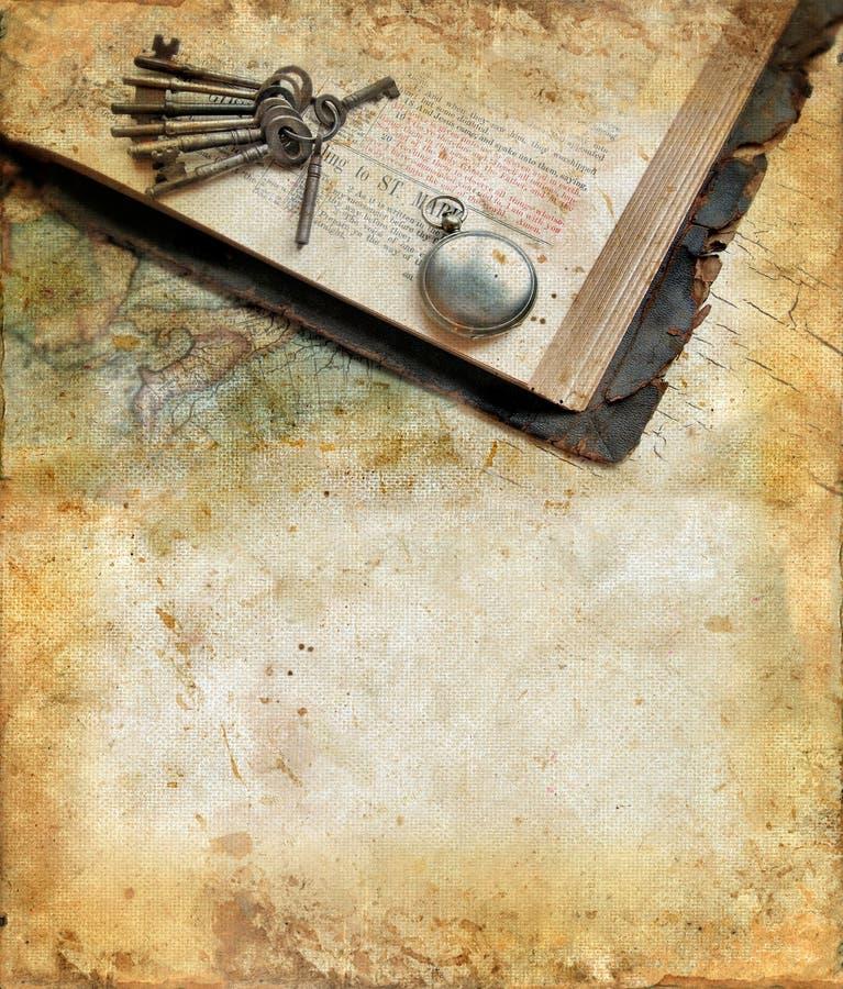 A Bíblia do vintage em um fundo do grunge imagem de stock