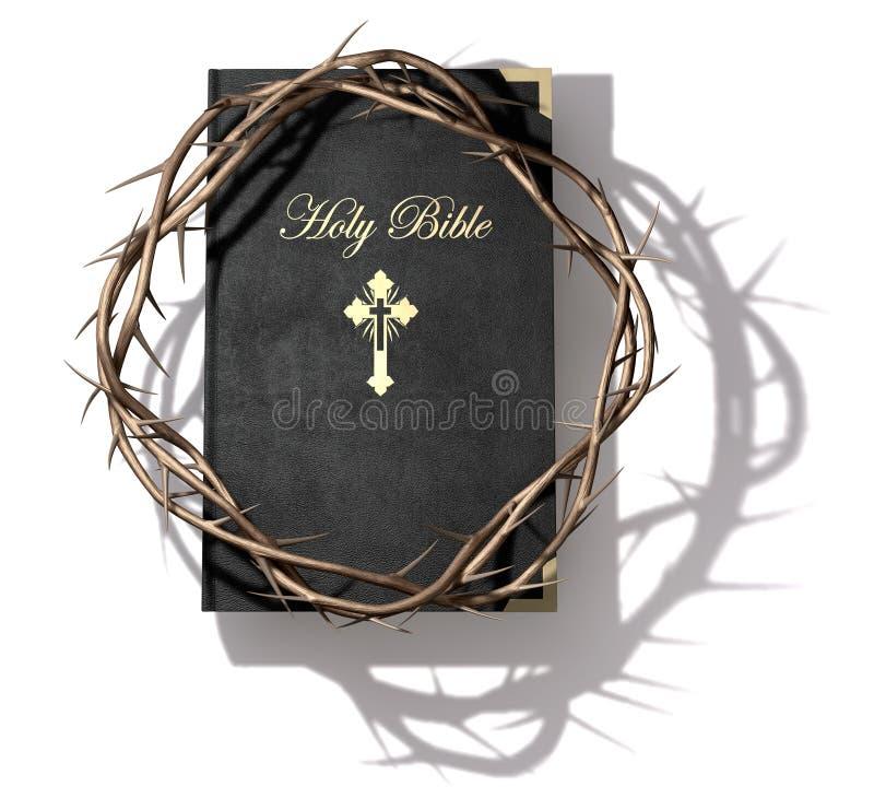 A Bíblia e coroa de espinhos ilustração stock