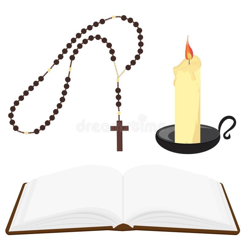 A Bíblia, grânulos do rosário e vela ilustração stock