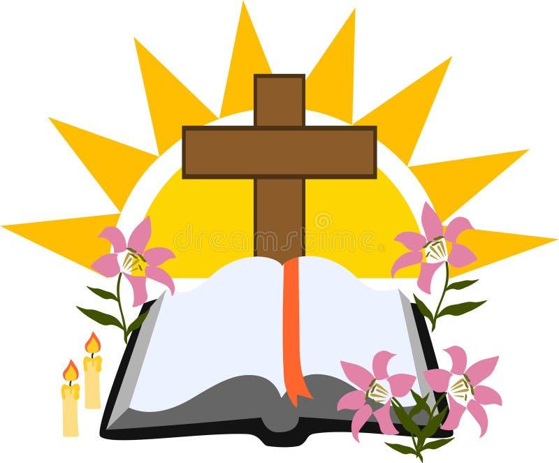 A Bíblia Sagrada com cruz ilustração stock