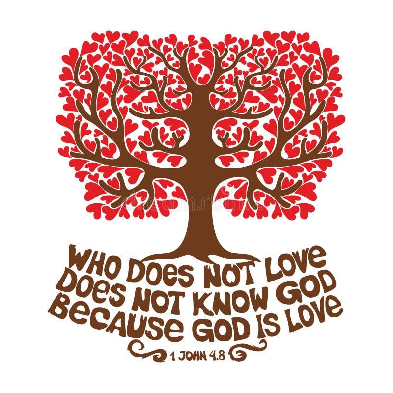 A Bíblia tipográfica Quem não ama, não conhece o deus, porque o deus é amor ilustração royalty free