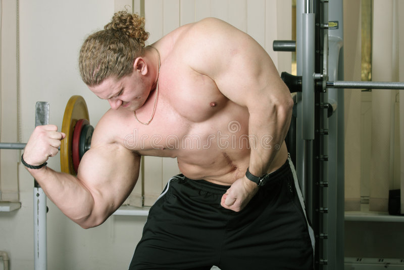 Bíceps de Demonstraiting imagem de stock