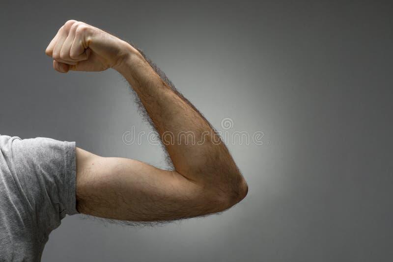 Bíceps melenudo fino fotos de archivo