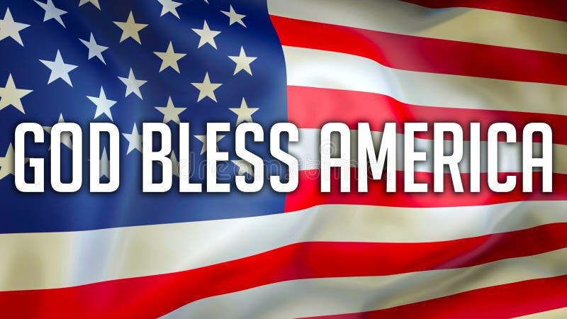 Bóg Błogosławi Ameryka na usa flagi tle, 3D rendering Zlani stany Ameryka zaznaczają falowanie w wiatrze amerykańska flaga dumna ilustracji