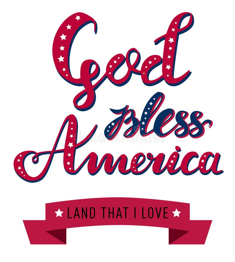 Bóg błogosławi Ameryka ręka rysującego wektorowego literowanie z faborkiem dla plakatów, kartka z pozdrowieniami i sieć sztandaró ilustracji
