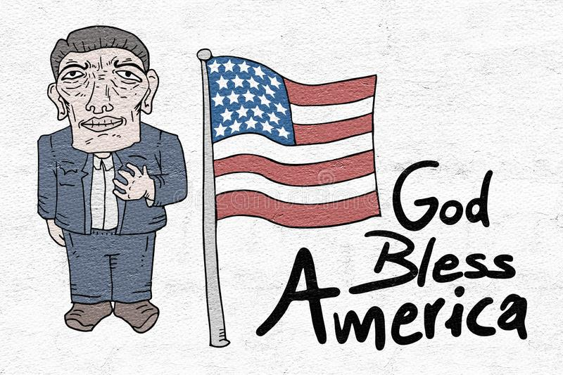 Bóg błogosławi Ameryka wiadomość ilustracji