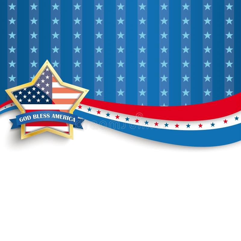 Bóg Błogosławi Ameryka Złotych Gwiazdowych Błękitnych lampasy royalty ilustracja
