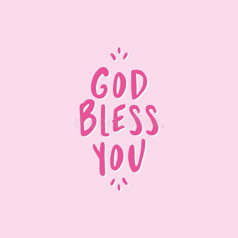 Bóg błogosławi ciebie - literowanie wiadomość ilustracja wektor