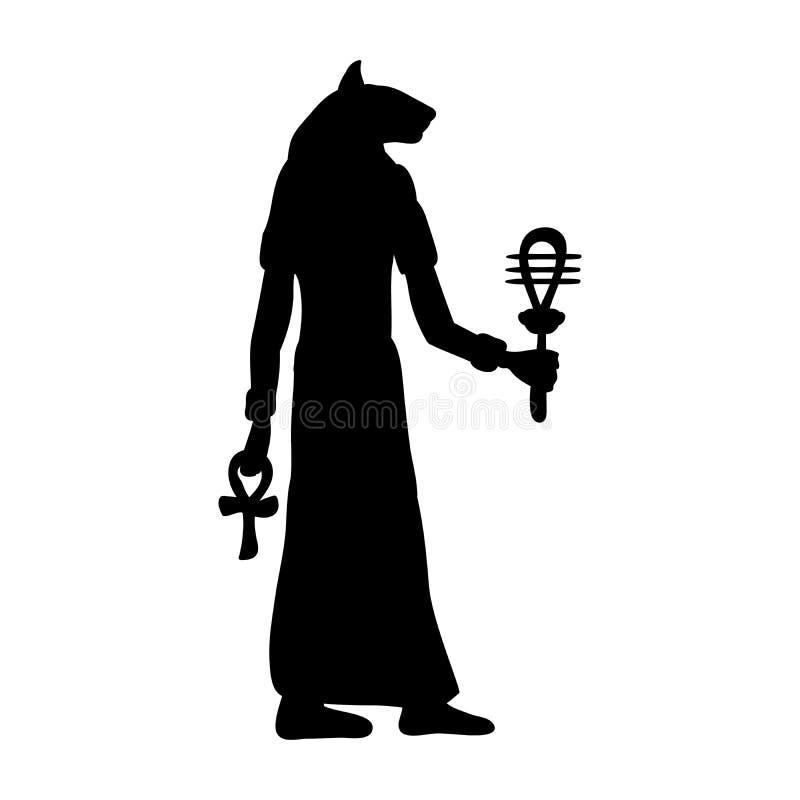 Bóg Bastet kota egipska sylwetka antyczny Egypt royalty ilustracja