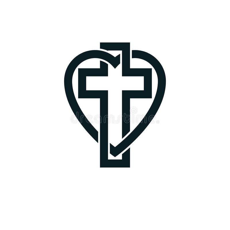 Bóg Chrześcijańskiej miłości loga konceptualny projekt łączył z Christia royalty ilustracja