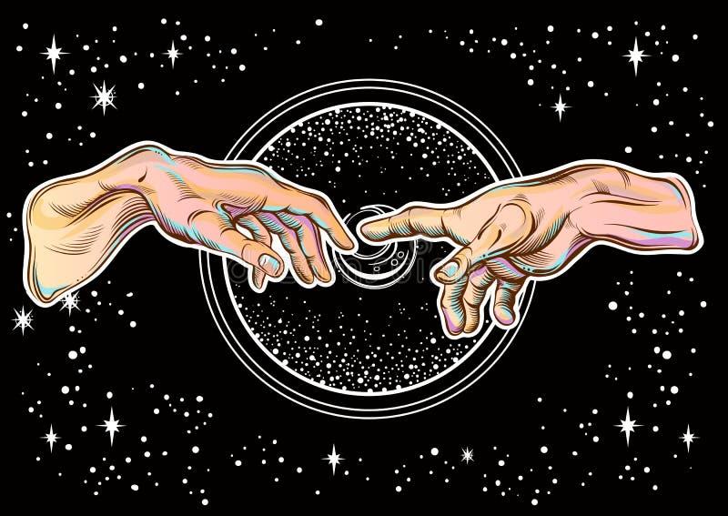 Bóg i Adams ręki ilustracyjny nowożytny wektor Tworzenie Adam Filozofia religijni motywy i wszechświat ilustracji