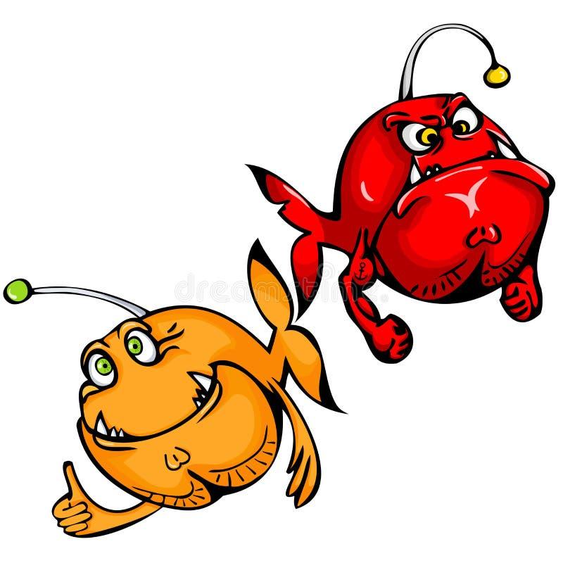 Bóg i diabeł w postaci dwa ryba Znak zodiak Pisces ilustracja wektor