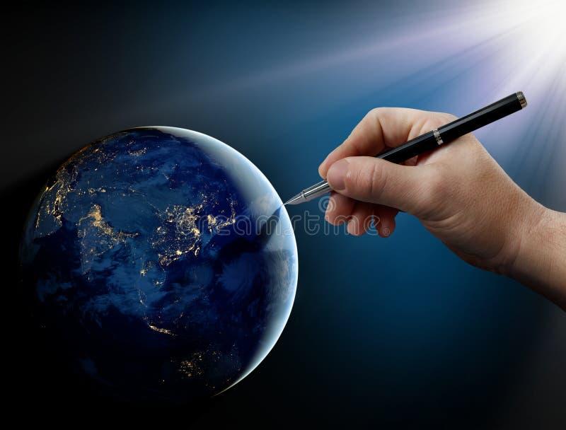 Bóg interwencja w ludzkich sprawach na ziemi. zdjęcie royalty free