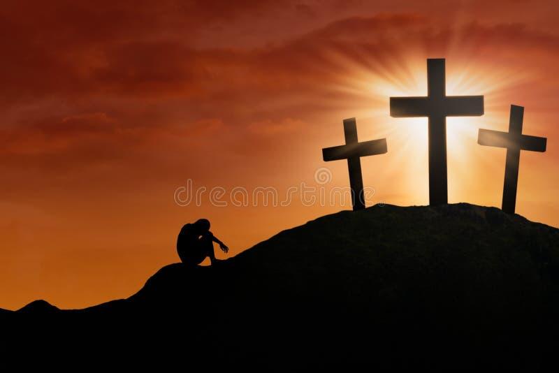 Bóg litość przy krzyżem royalty ilustracja