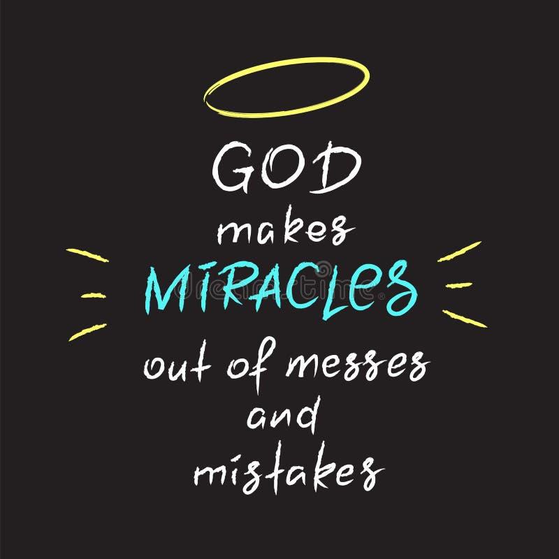 Bóg robi cudom z bałagani i błędy ilustracja wektor