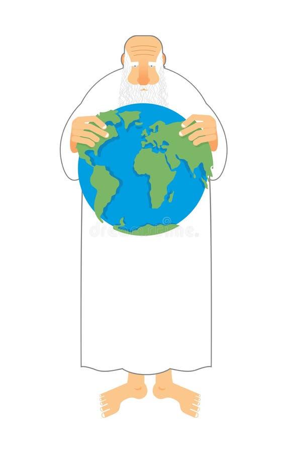 Bóg widzii ziemię w jego rękach Twórca utrzymuje wszechświat Stary gr royalty ilustracja