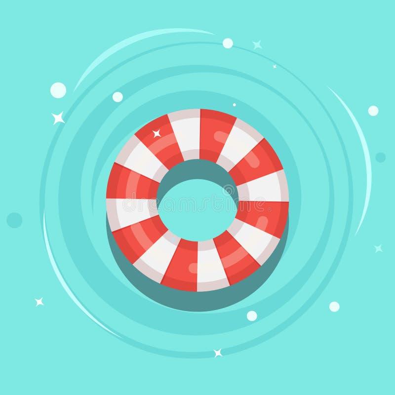 Bóia de vida que flutua na piscina Anel de borracha da praia na água isolada no fundo Boia salva-vidas, brinquedo bonito para cri ilustração royalty free